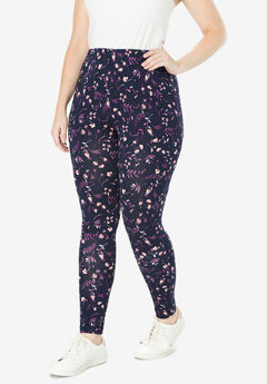 Stretch Cotton Printed Legging, NAVY DANCING FLORAL