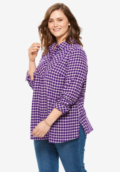 Henley Bib Flannel Shirt, RADIANT PURPLE PLAID