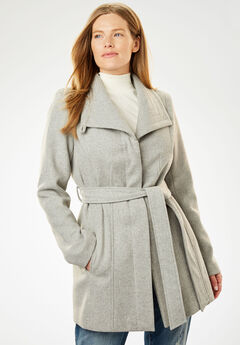 Wool-Blend Wrap Coat, HEATHER GREY, hi-res