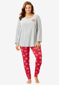 Embroidered Velour Pajama Set by Dreams & Co.®,