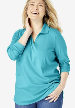 Perfect Open Collar Polo Long Sleeve Tee,