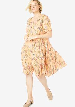 Short Crinkle Dress, SUNSET PEACH FLORAL BLOOM