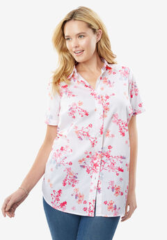 Perfect Short Sleeve Button Down Shirt, WHITE EXOTIC FLORAL, hi-res
