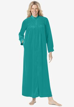 Smocked velour long robe by Only Necessities®,