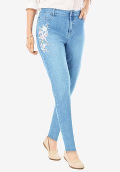 Straight Leg Stretch Jean, LIGHT STONEWASH FLORAL EMBROIDERY