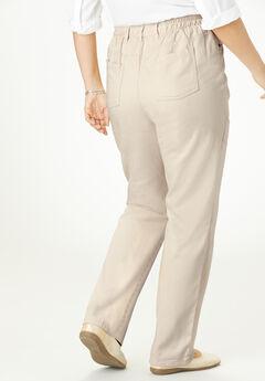 Side-Elastic Straight Leg Cotton Jean, NATURAL KHAKI