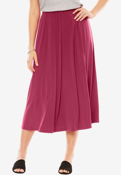 A-Line Knit Midi Skirt, RUBY ROSE, hi-res