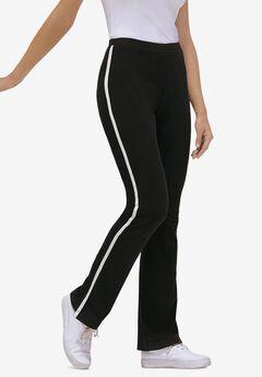 Stretch Cotton Side-Stripe Bootcut Pant, BLACK WHITE