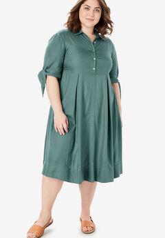 Tie-Sleeve Henley Dress, ANTIQUE TEAL