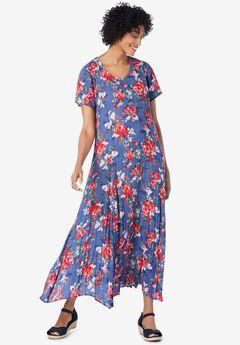 Crinkle Dress, ROYAL NAVY PRETTY ROSE