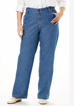 Wide Leg Cotton Jean, MEDIUM STONEWASH