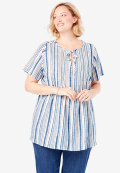 Keyhole Pleat-Front Linen Tunic,