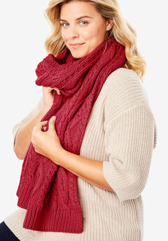 Cable Knit Scarf, STRAWBERRY RED