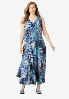 Sleeveless Crinkle A-Line Dress, NAVY FOLK PATCHWORK