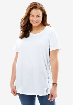 Side Lace-Up Tee, WHITE, hi-res