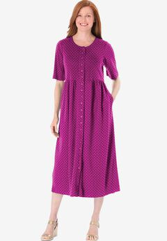 Button-Front Essential Dress, RASPBERRY POLKA DOT