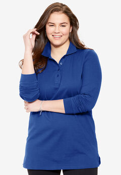 Perfect polo tunic with long sleeves, DARK SAPPHIRE, hi-res