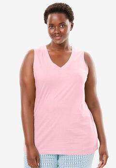 Cotton Sleep Tank by Dreams & Co.®, PINK, hi-res