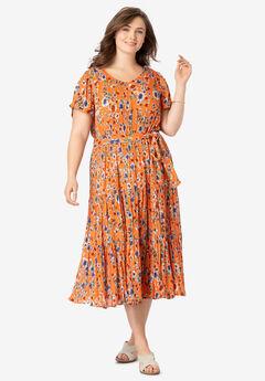 Tiered Belted Crinkle Dress, ORANGE ZEST PRETTY FLORAL