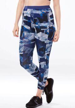 Capri pants by FullBeauty SPORT®, BLUE ABSTRACT GEO