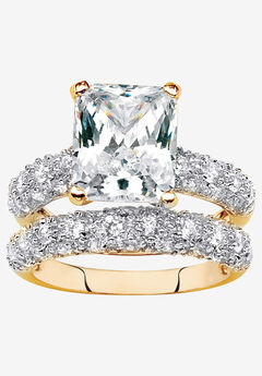 Yellow Gold-Plated Emerald Cut Bridal Ring Set Cubic Zirconia,