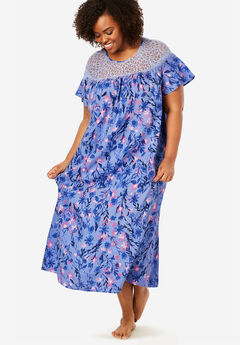 Lace Trim Sleep Gown by Amoureuse®, FRENCH LILAC FLORAL