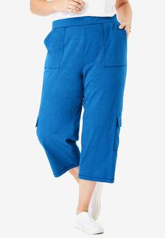 Pull-On Knit Cargo Capri, HEATHER DEEP COBALT