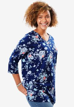 Perfect Print V-Neck Tunic, EVENING BLUE BOUQUET, hi-res