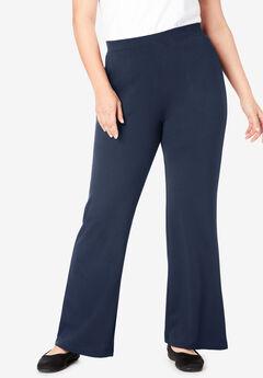 Wide Leg Ponte Knit Pant,