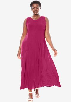 Woman Within®Sleeveless Crinkle Dress, RASPBERRY, hi-res