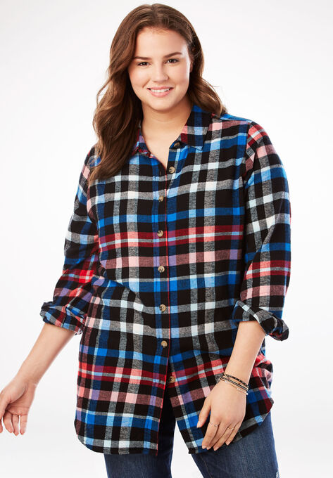 Classic Flannel Shirt Plus Size Tops Woman Within