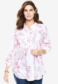 Pintuck Perfect Shirt, WHITE EXOTIC FLORAL, hi-res