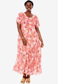 Short sleeve crinkle dress, PINK SHADOW LEAF, hi-res