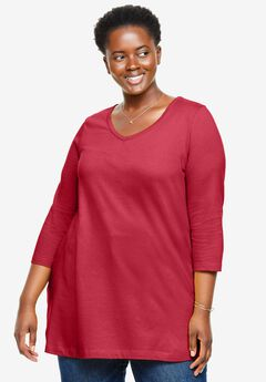 V-Neck Three-Quarter Sleeve Perfect Tunic, STRAWBERRY RED