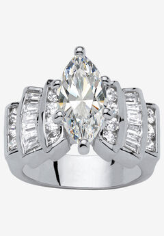 Silver Tone Marquise Cut Engagement Ring Cubic Zirconia by PalmBeach Jewelry,