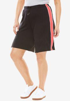 Sport Knit Side-Stripe Short, BLACK CORAL RED, hi-res