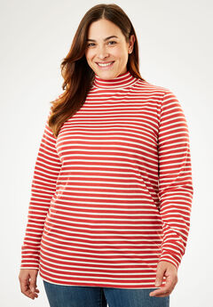 Printed Mock Neck Perfect Tee, FRESH RED STRIPE