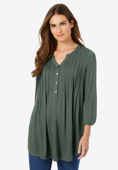 Pleated Henley Top,