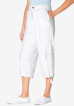 Pull-On Knit Cargo Capri, WHITE