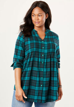 Pintucked Flannel Bigshirt, RICH JADE PLAID