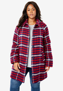 Wool-Blend Classic A-Line Coat, MULTI HOUNDSTOOTH