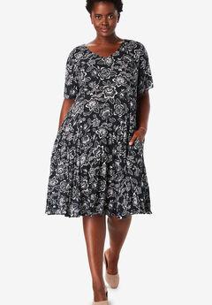 Short Crinkle Dress, BLACK SKETCH FLORAL