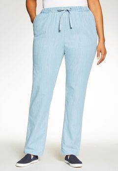 Chambray Drawstring Straight Leg, BLEACH, hi-res