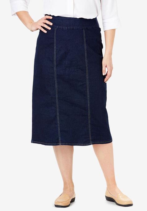 37ea8d1a3f6 Smooth Waist A-Line Denim Skirt