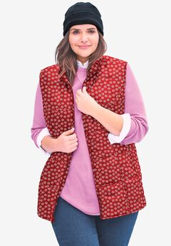 Quilted Vest, CLASSIC RED DOT SNOWFLAKE