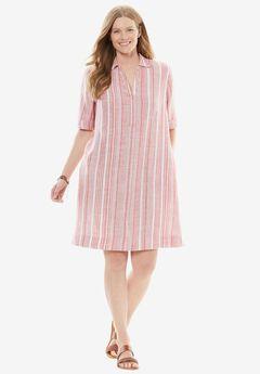 Collared Linen Shirtdress, STRAWBERRY ROSE STRIPE, hi-res