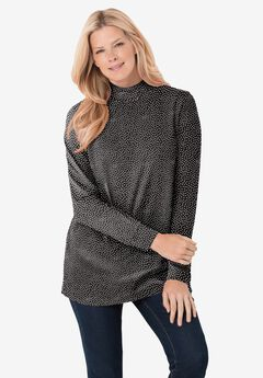 Perfect Printed Long-Sleeve Mock-Neck Tee, BLACK OFFSET DOT