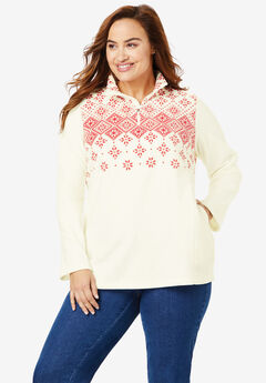 Quarter-Zip Microfleece Pullover, IVORY DIAMOND FAIR ISLE