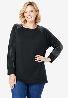 Raglan Velour Sleeve Sweatshirt,