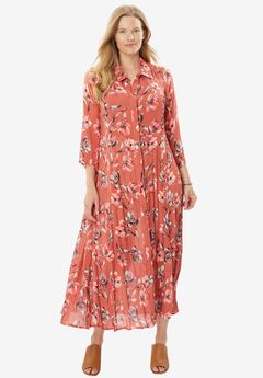 Pleated Maxi Shirt Dress, STRAWBERRY ROSE WATERCOLOR FLORAL, hi-res